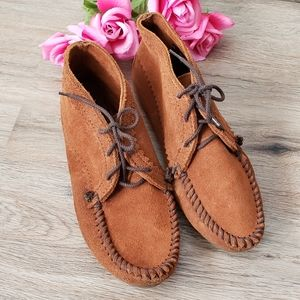 Minnetonka Suede Lace Ankle Boot Moccasins